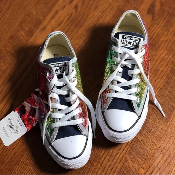 4e716d8ca3f9 Rainbow Sequin Converse Low Top Sneakers